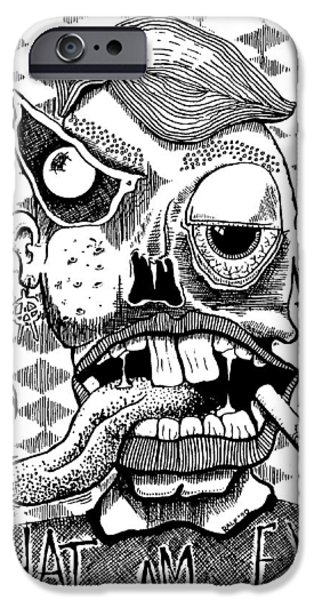 Eerie Drawings iPhone Cases - What Am Eye? iPhone Case by Ralf Schulze