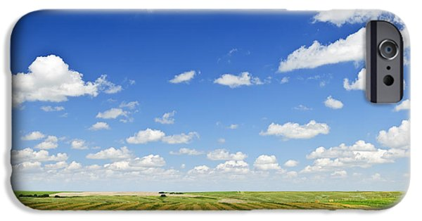 Field. Cloud iPhone Cases - Wheat farm field at harvest iPhone Case by Elena Elisseeva