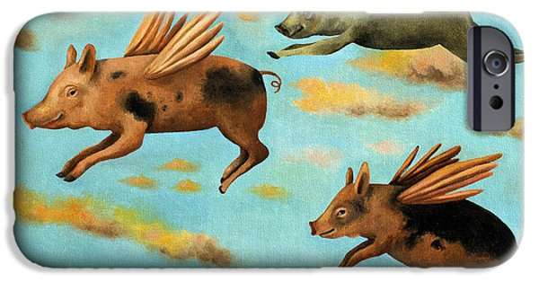 Pig iPhone Cases - When Pigs Fly iPhone Case by Leah Saulnier The Painting Maniac