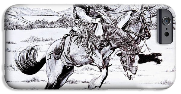 Drawing Of A Horse iPhone Cases - When Things get Rocky iPhone Case by Cheryl Poland