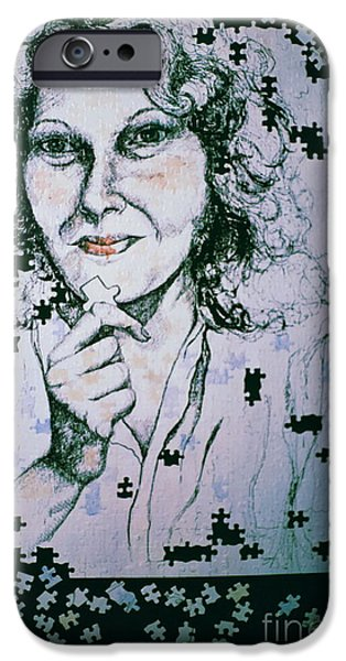 Self-portrait Mixed Media iPhone Cases - Where Does The Next Piece Go? iPhone Case by Rory Sagner