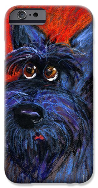 Pastel iPhone Cases - whimsical Schnauzer dog painting iPhone Case by Svetlana Novikova