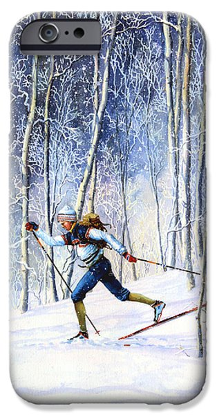 Skiing iPhone Cases - Whispering Tracks iPhone Case by Hanne Lore Koehler