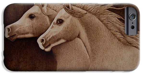 Horse Pyrography iPhone Cases - Whispers iPhone Case by Jo Schwartz