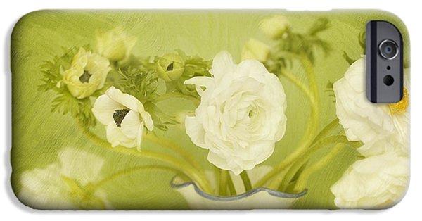 """indoor"" Still Life Digital Art iPhone Cases - White Anemonies and Ranunculus on Green iPhone Case by Susan Gary"