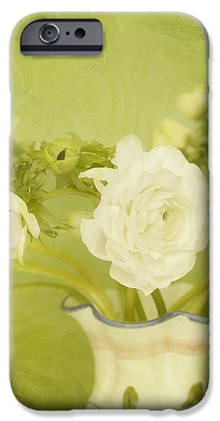 White Anemonies and Ranunculus on Green iPhone Case by Susan Gary
