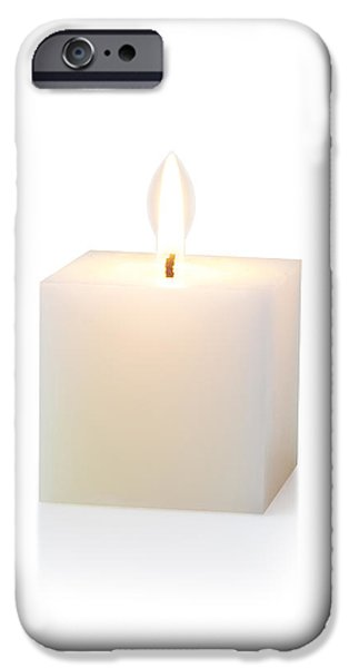 white cubic candle iPhone Case by ATIKETTA SANGASAENG