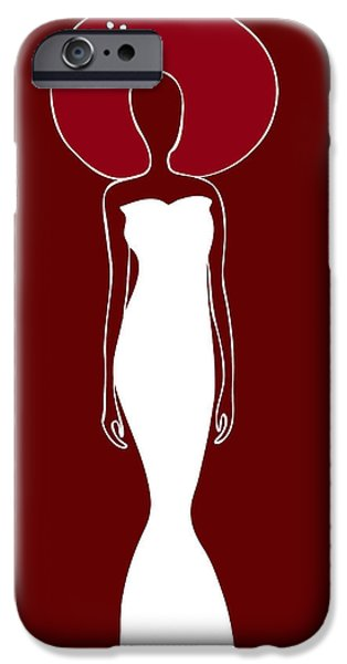 Red Drawings iPhone Cases - White Dress iPhone Case by Frank Tschakert
