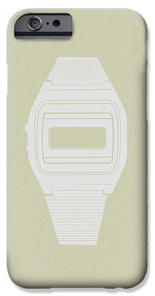 White Electronic Watch iPhone Case by Naxart Studio