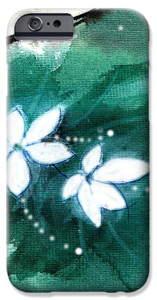 White Flowers iPhone Case by Anil Nene