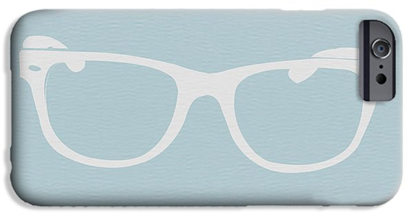 Old Digital Art iPhone Cases - White Glasses iPhone Case by Naxart Studio