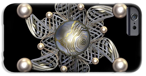 Jewellery Digital Art iPhone Cases - White Gold and Pearls iPhone Case by Hakon Soreide