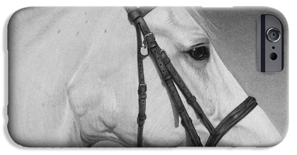 Graphite Drawing iPhone Cases - White Horse iPhone Case by Tim Dangaran