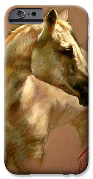 White Pastels iPhone Cases - White Horse iPhone Case by Ylli Haruni