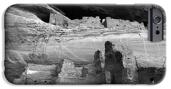 White House iPhone Cases - White House Ruin Canyon De Chelly Monochrome iPhone Case by Bob Christopher