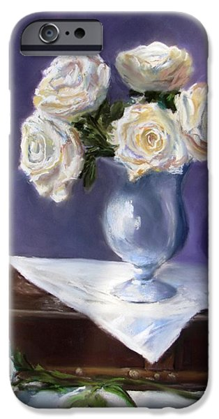 Jack Skinner iPhone Cases - White Roses in a Silver Vase iPhone Case by Jack Skinner
