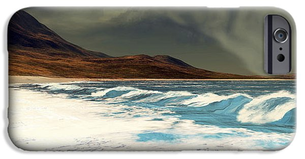 Concept Digital iPhone Cases - White Surf Comes Into Shore iPhone Case by Corey Ford