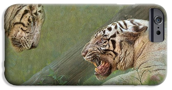 Growling iPhone Cases - White tiger growling at her mate iPhone Case by Louise Heusinkveld