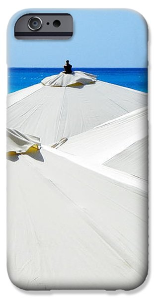 White Umbrellas iPhone Case by KAREN WILES