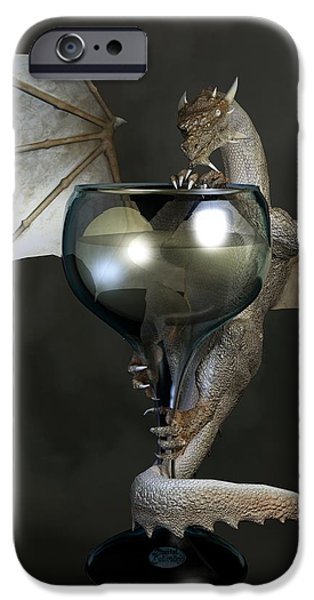White Wine Dragon iPhone Case by Daniel Eskridge