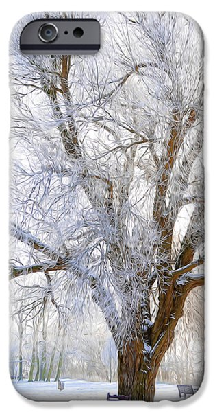 Sun Rays Mixed Media iPhone Cases - White Winter Tree iPhone Case by Svetlana Sewell