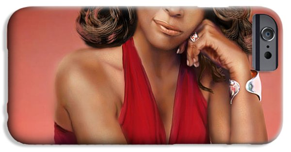 Super Stars iPhone Cases - Whitney Houston iPhone Case by Reggie Duffie