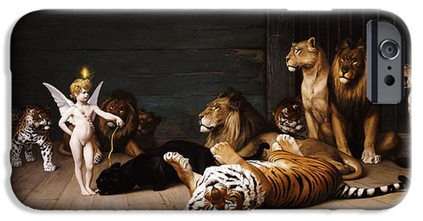 The Tiger iPhone Cases - Whoever you are Here is your Master iPhone Case by Jean Leon Gerome