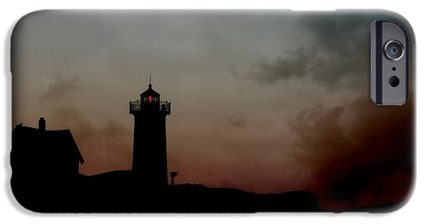 Cape Neddick Lighthouse Digital Art iPhone Cases - Wicked Dawn iPhone Case by Lori Deiter