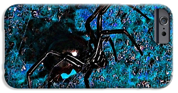 Black Spider iPhone Cases - Wicked Widow - Blue iPhone Case by Al Powell Photography USA