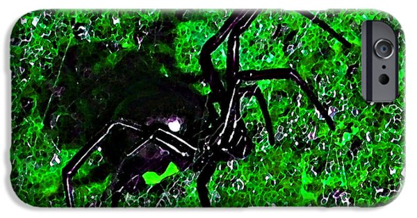 Black Spider iPhone Cases - Wicked Widow - Green iPhone Case by Al Powell Photography USA