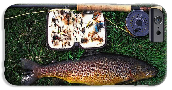Wild Trout iPhone Cases - Wild Brown Trout And Fishing Rod iPhone Case by Axiom Photographic