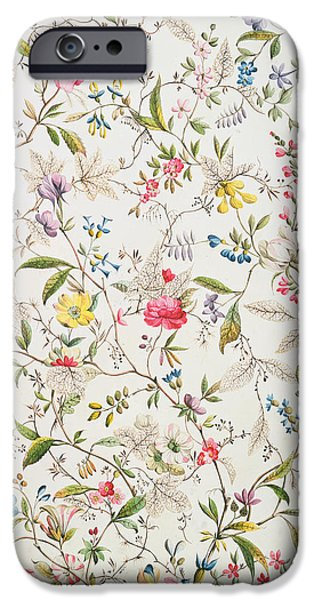 Silk Paintings iPhone Cases - Wild flowers design for silk material iPhone Case by William Kilburn