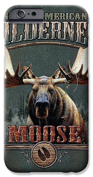 Pine Paintings iPhone Cases - Wilderness Moose iPhone Case by JQ Licensing