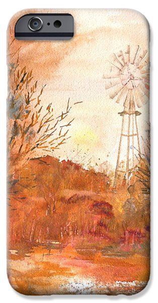 Prescott Paintings iPhone Cases - Wilderness Windmill iPhone Case by Sharon Mick