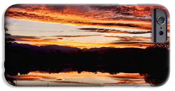 Striking Photography iPhone Cases - Wildfire Sunset Reflection Image 28 iPhone Case by James BO  Insogna
