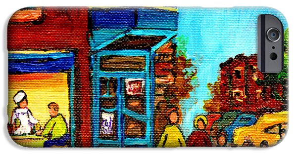 Montreal Storefronts Paintings iPhone Cases - Wilenskys Lunch Counter With School Bus Montreal Street Scene iPhone Case by Carole Spandau