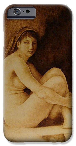 Bathing Pyrography iPhone Cases - William Bouguereau Seated Nude  iPhone Case by Jo Schwartz