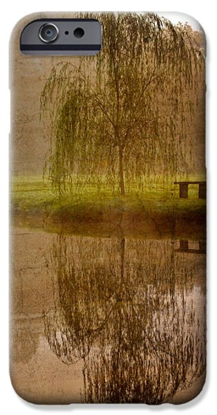 Willow Lake iPhone Cases - Willow on the Pond iPhone Case by Debra and Dave Vanderlaan