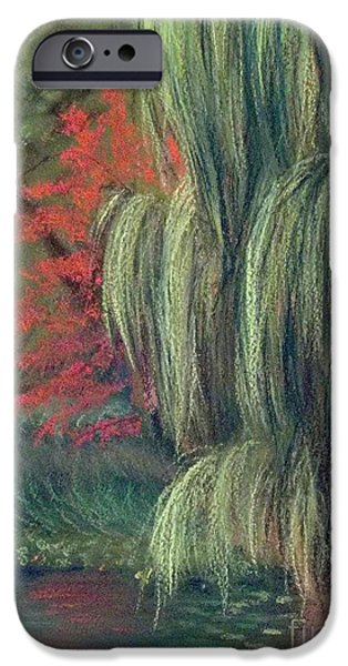 Willow Lake Pastels iPhone Cases - Willow Tree - Hidden Lake Gardens -tipton Michigan iPhone Case by Yoshiko Mishina