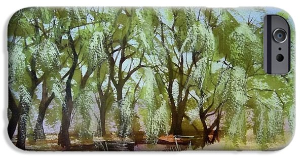 Willow Lake Paintings iPhone Cases - Willows iPhone Case by Becky Chappell