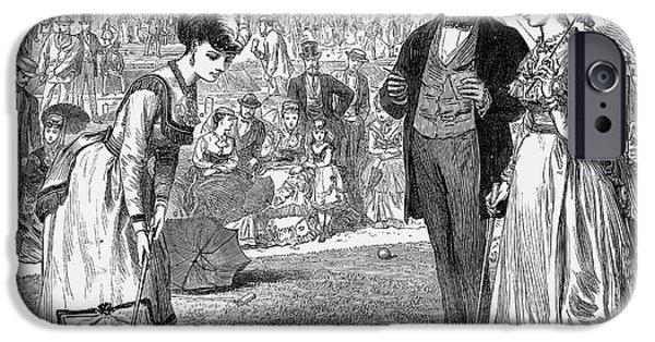 Wimbledon iPhone Cases - Wimbledon: Croquet, 1870 iPhone Case by Granger