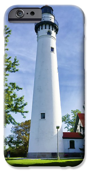 Marine iPhone Cases - Wind Point Lighthouse iPhone Case by Joan Carroll