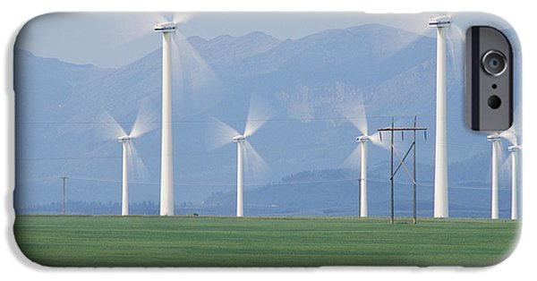Energy Industry iPhone Cases - Wind Turbines iPhone Case by Alan Sirulnikoff