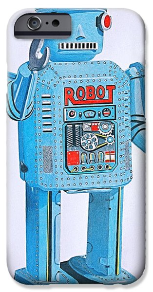 Science Fiction Drawings iPhone Cases - Wind-up Robot iPhone Case by Glenda Zuckerman