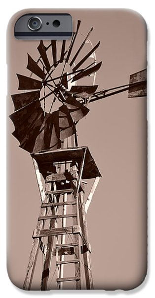 Windmill Sepia iPhone Case by Rebecca Margraf