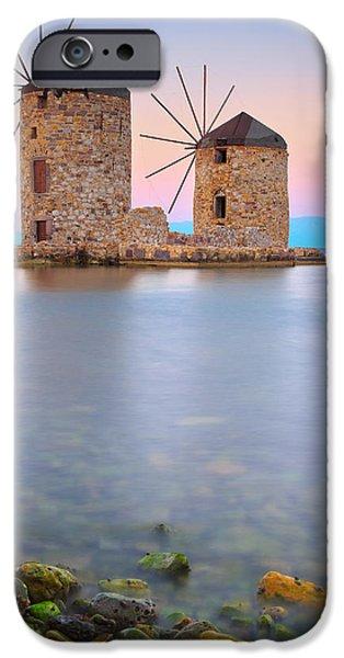 Mesta iPhone Cases - Windmills  iPhone Case by Emmanuel Panagiotakis