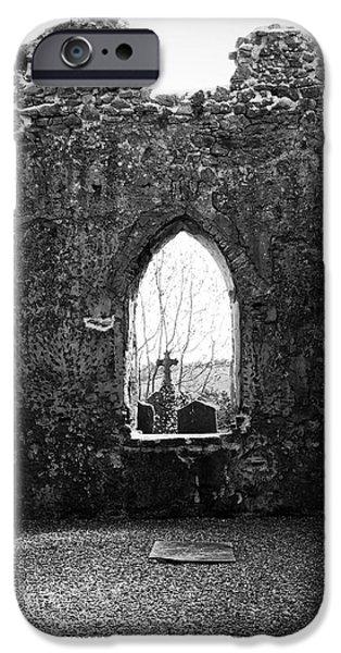 Window at Fuerty Church Roscommon Ireland iPhone Case by Teresa Mucha