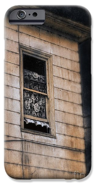 Haunted Houses iPhone Cases - Window in Old House Stormy Sky iPhone Case by Jill Battaglia