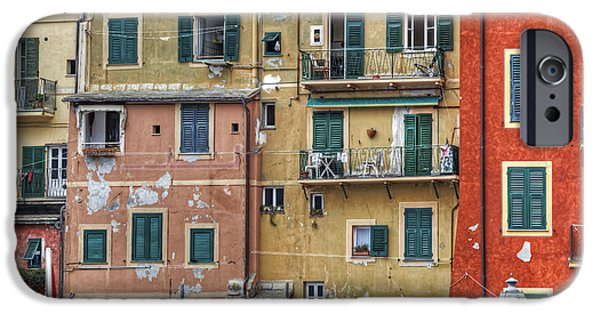Genoa iPhone Cases - Windows of Camogli iPhone Case by Joana Kruse