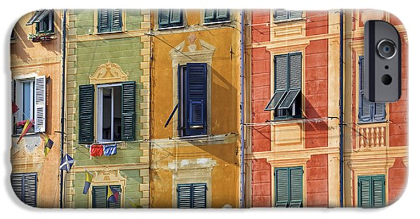 Genoa iPhone Cases - Windows of Portofino iPhone Case by Joana Kruse
